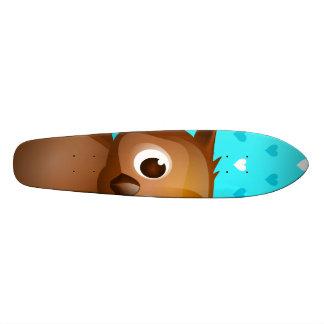 Cute Owl on Blue Heart Pattern Background Skate Board