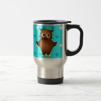 Cute Owl on Blue Heart Pattern Background Stainless Steel Travel Mug