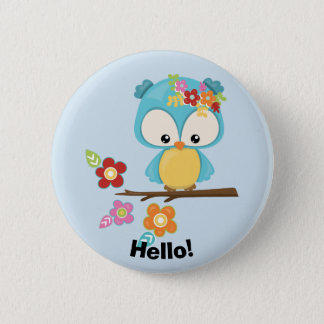 Cute Owl on Branch 6 Cm Round Badge
