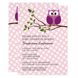 Cute Owl on Branch and polka dots Baby Girl Shower 13 Cm X 18 Cm Invitation Card
