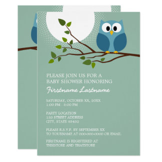 Cute Owl on Branch Baby Boy Shower Card