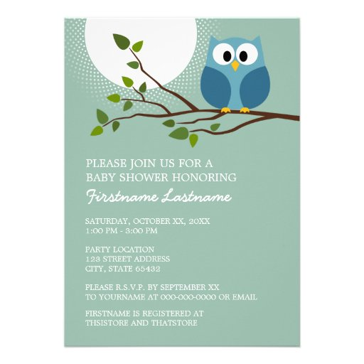 Cute Owl on Branch Baby Boy Shower Personalized Announcement
