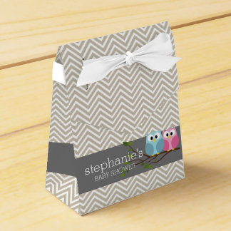 Cute Owl on Branch Baby Girl or Boy Shower Favour Box