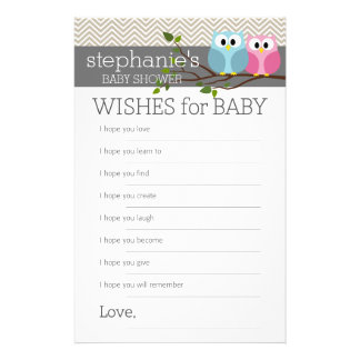 Cute Owl on Branch Baby Girl or Boy Shower Flyers