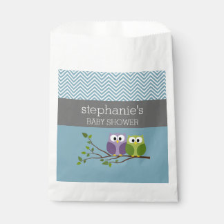 Cute Owl on Branch - Blue Baby Boy Shower Favour Bags