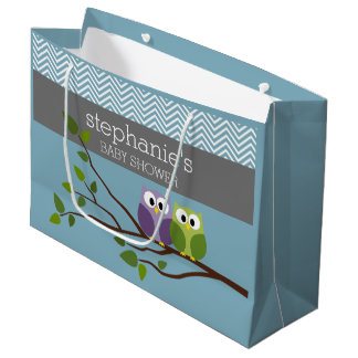 Cute Owl on Branch - Blue Baby Boy Shower Large Gift Bag