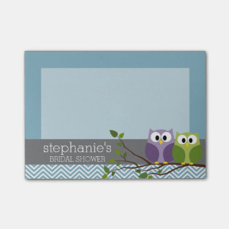 Cute Owl on Branch - Blue Baby Boy Shower Post-it® Notes