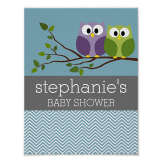 Cute Owl on Branch - Blue Baby Boy Shower Poster