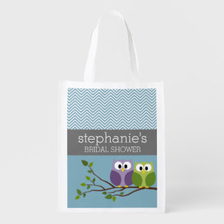Cute Owl on Branch - Blue Baby Boy Shower Grocery Bag