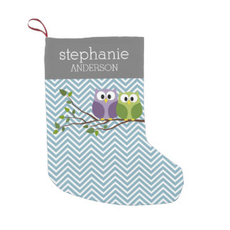 Cute Owl on Branch - Blue Baby Boy Shower Small Christmas Stocking