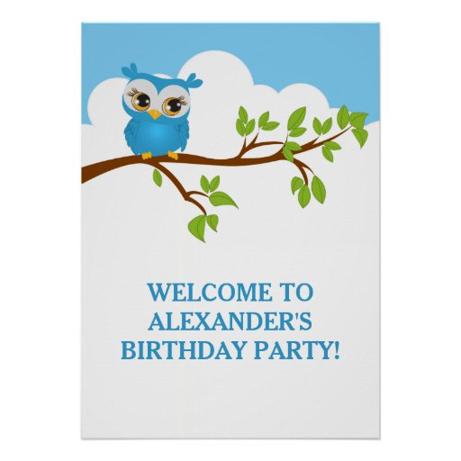 Cute Owl on Branch Boy Birthday Party Poster Poster