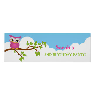 Cute Owl on Branch Girl Birthday Party Banner Poster