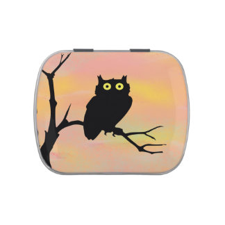Cute owl on branch jelly belly candy tin