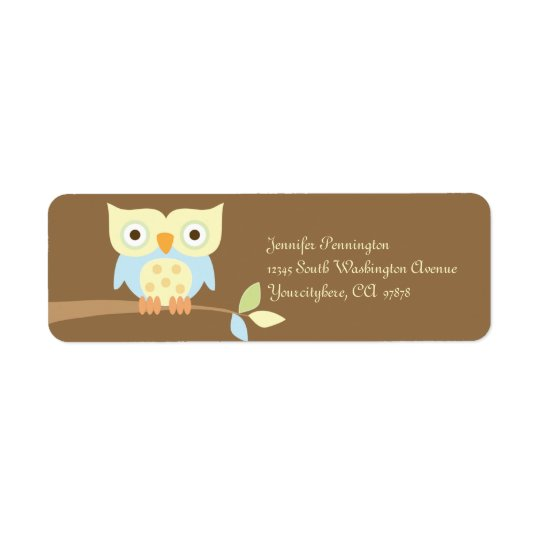 Cute owl on branch return address labels