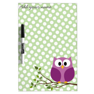 Cute Owl on Branch with Polka Dot Pattern and Name Dry Erase Boards