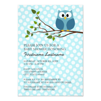 Cute Owl on Branch with polka dots Baby Boy Shower 13 Cm X 18 Cm Invitation Card