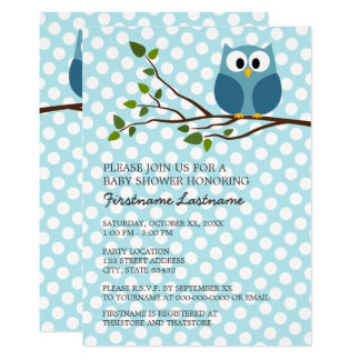 Cute Owl on Branch with polka dots Baby Boy Shower Card