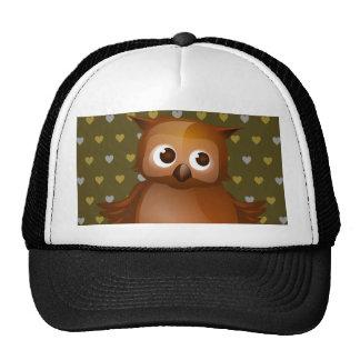 Cute Owl on Brown Heart Pattern Background Cap