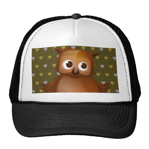 Cute Owl on Brown Heart Pattern Background Hats
