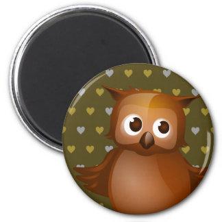 Cute Owl on Brown Heart Pattern Background Fridge Magnets