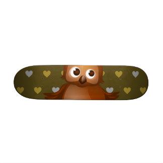 Cute Owl on Brown Heart Pattern Background Skate Board