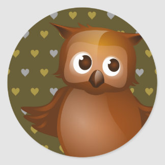 Cute Owl on Brown Heart Pattern Background Round Stickers