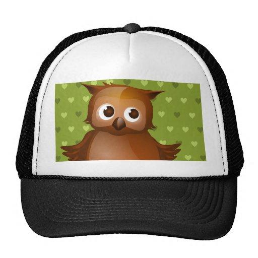 Cute Owl on Green Heart Pattern Background Hat
