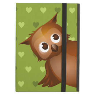 Cute Owl on Green Heart Pattern Background iPad Air Case