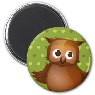 Cute Owl on Green Heart Pattern Background Magnets