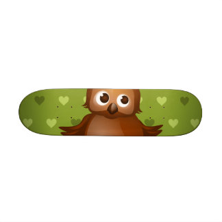 Cute Owl on Green Heart Pattern Background Skate Decks