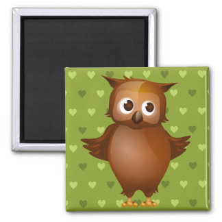 Cute Owl on Green Heart Pattern Background Square Magnet