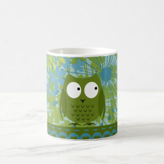 Cute Owl on Heart Ribbon with Floral Pattern Basic White Mug