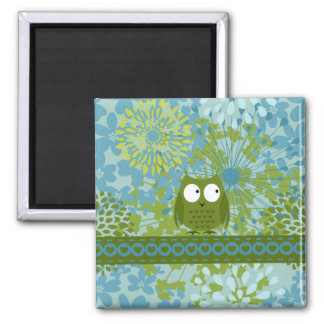 Cute Owl on Heart Ribbon with Floral Pattern Magnet