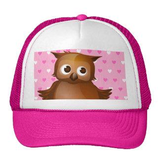 Cute Owl on Pink Heart Pattern Background Cap