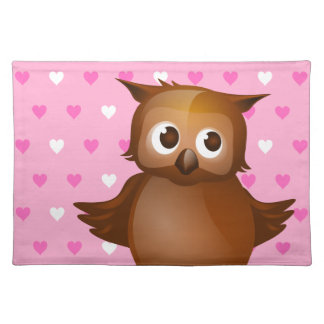 Cute Owl on Pink Heart Pattern Background Placemat
