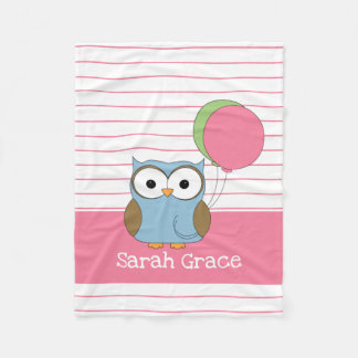 Cute Owl on Pink Pinstripes, Add Name Fleece Blanket
