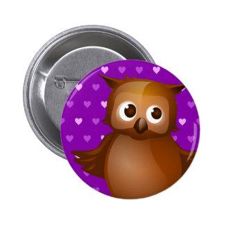 Cute Owl on Purple Heart Pattern Background Pinback Button