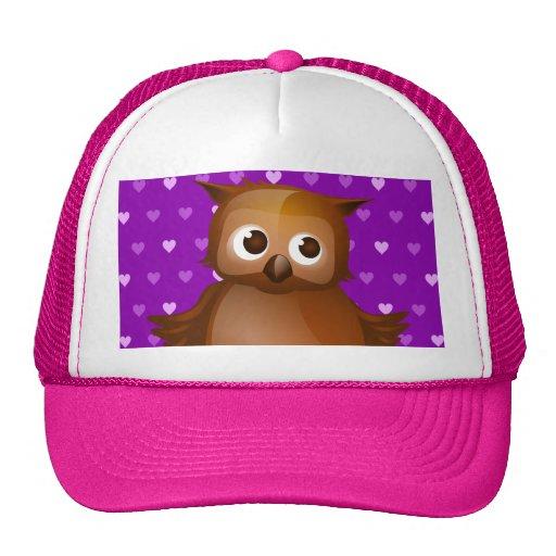 Cute Owl on Purple Heart Pattern Background Trucker Hats
