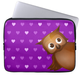 Cute Owl on Purple Heart Pattern Background Laptop Sleeve