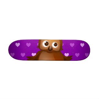 Cute Owl on Purple Heart Pattern Background Skate Decks