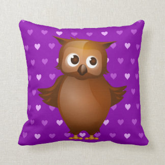 Cute Owl on Purple Heart Pattern Background Throw Pillow