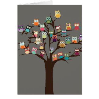 Cute Owl On Tree | Background Card