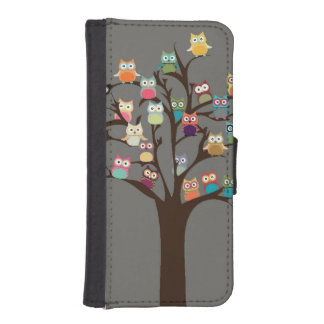 Cute Owl On Tree | Background iPhone SE/5/5s Wallet Case