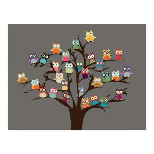 Cute Owl On Tree | Background Postcard
