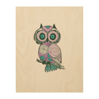 Cute Owl Painting on-Wood Canvas Wood Wall Art