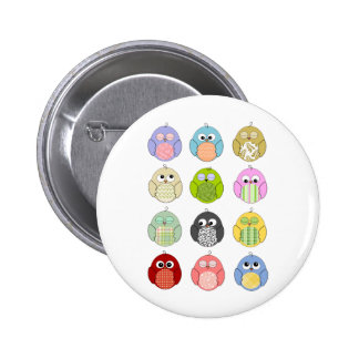 Cute Owl Pattern 6 Cm Round Badge