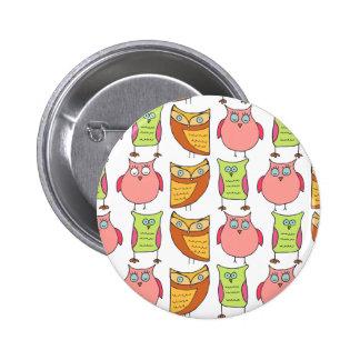 Cute Owl Pattern Pinback Buttons