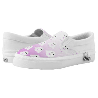 Cute owl pattern pastel pink white ombre slip on shoes