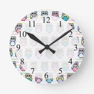 Cute Owl Pattern Round Clock