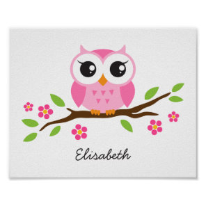 Cute owl personalised nursery wall art for girls